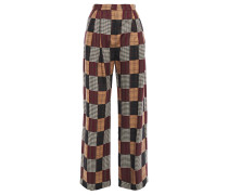 Checked Jacquard Wide-leg Pants