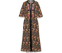 Rosy Embroidered Floral-print Crepe De Chine Midi Dress