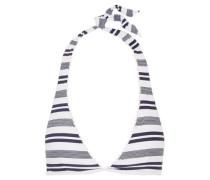 Martha's Vineyard striped stretch-cloqué halterneck bikini top