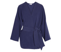 Davin Oversized Washed-silk Jacket Indigo