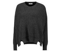 Cutout Ribbed Wool And Cashmere-blend Sweater Schiefer