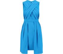 Cross-front Crepe Dress Azurblau