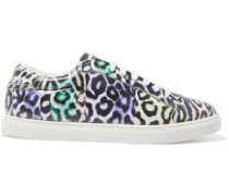 Leopard-print leather sneakers