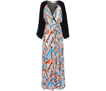Belted Printed Jersey Maxi Dress