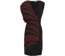 Ruched Paneled Zebra-print Stretch-crepe Mini Dress