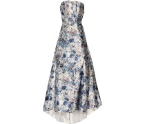 Strapless Pleated Printed Satin Gown Mehrfarbig