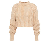 Cropped Ribbed Cotton Sweater