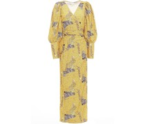 Aspen Printed Crepe Midi Wrap Dress