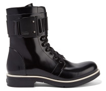 Glossed-leather Ankle Boots Schwarz