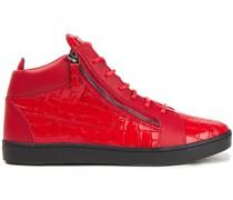 High-top-sneakers aus Leder mit Krokodileffekt und Glattleder mit Reißverschlussdetails