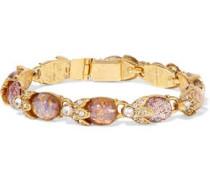 Gold-tone, crystal and stone bracelet