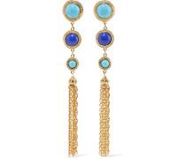 Gold-tone Stone Clip Earrings Blau