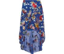 Mariel Asymmetric Floral-print Burnout Chiffon Skirt