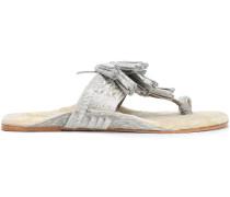 Tasseled Shearling-lined Metallic Calf Hair Sandals