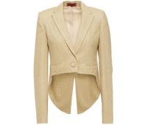 Woman Cropped Metallic Bouclé-knit Blazer Gold