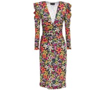 Ruched Floral-print Stretch-jersey Midi Dress
