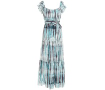Shirred Tie-dyed Cotton And Silk-blend Maxi Dress