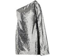 One-shoulder Draped Sequined Crepe De Chine Mini Dress