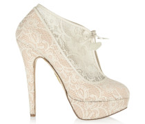 Minerva Lace And Satin Ankle Boots Elfenbein