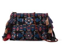 Tassel-trimmed Embroidered Suede Shoulder Bag Mehrfarbig