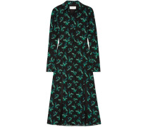Woman Floral-print Silk-crepe Midi Dress Black