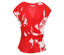 Twist-front Printed Silk-crepe Top