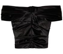 Schulterfreies Cropped Oberteil aus Satin mit Falten