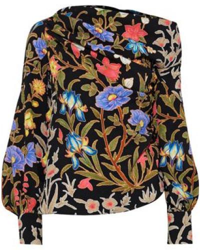 Woman One-shoulder Gathered Floral-print Cloqué Blouse Black