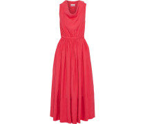 Flared Gathered Shell Midi Dress