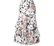 Zennia Ruffled Floral-print Satin-jacquard Midi Skirt