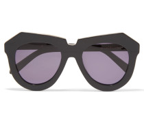 Aviator-style Acetate And Silver-tone Sunglasses Schwarz