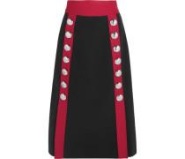 Button-embellished wool-blend midi skirt