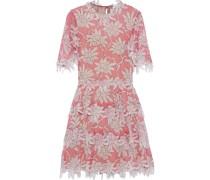 Appliquéd Floral-print Silk-chiffon Dress