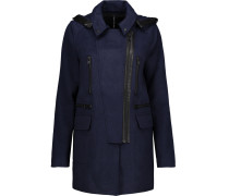 Carol Faux Leather-trimmed Woven Hooded Coat Mitternachtsblau