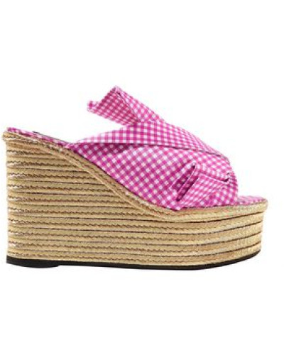 Knotted Gingham Satin Espadrille Wedge Sandals Fuchsia