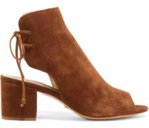 Cutout suede ankle boots
