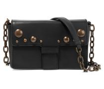 Studded Leather Shoulder Bag Schwarz