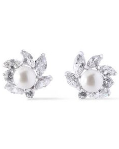 Woman Studs Always Silver-tone, Crystal And Faux Pearl Earrings Silver