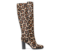 Leopard-print Calf Hair Boots