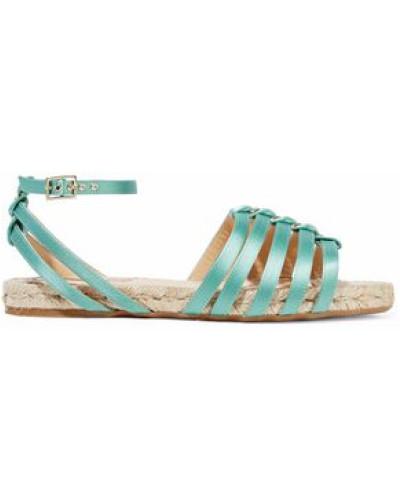 Cutout Silk-satin Espadrille Sandals Mint