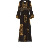 Blair embellished printed crinkled silk-chiffon gown
