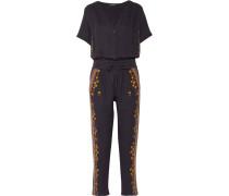 Sharlen Sequin-embellished Embroidered Cotton-gauze Jumpsuit Mitternachtsblau