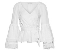 Woman Melly Broderie Anglaise Cotton-poplin Peplum Wrap Top White