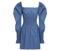 Everly Shirred Crinkled Stretch-jacquard Mini Dress