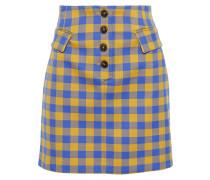 Button-detailed Gingham Woven Mini Skirt