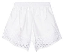 Broderie Anglaise-trimmed Cotton Shorts Weiß