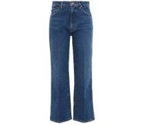 Hoch Sitzende Cropped Jeans mit Geradem Bein
