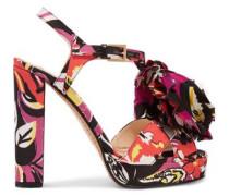 Printed satin appliquéd sandals