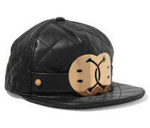 Embellished Quilted Leather Cap Schwarz