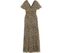 Shirred Floral-print Georgette Maxi Dress